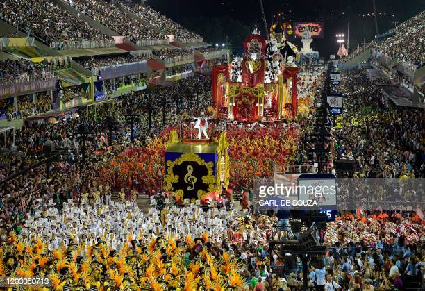 Performers from the Salgueiro samba school perform during the last night of Rio's Carnival parade at the Sambadrome Marques de Sapucai in Rio de...