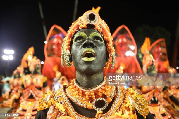 Performers from the Salgueiro samba school prepare to parade in the Sambadrome on February 13 2018 in Rio de Janeiro Brazil Carnival is the grandest...
