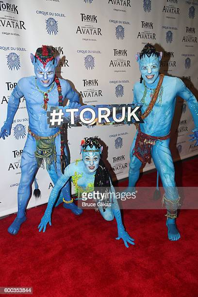 Performers from 'Toruk' pose at the Opening Night for the New York Premeire of Cirque Du Soleil's 'Toruk' inspired by the James Cameron film 'Avatar'...
