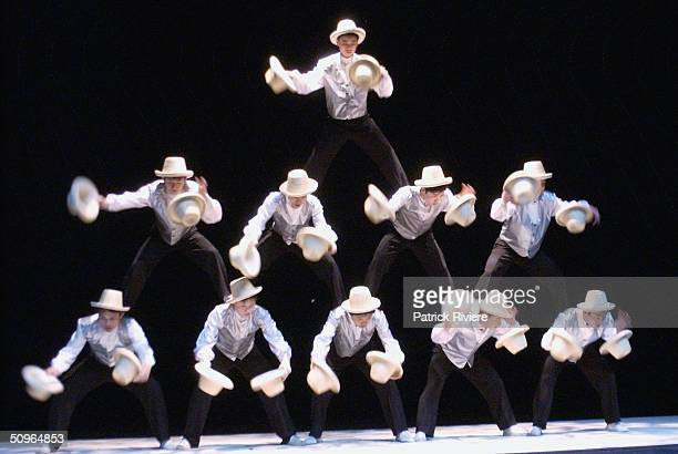 Performers go through their routine during a media call for the New Shanghai Circus Australian tour at the Lyric Theatre Star City June 16 2004 in...