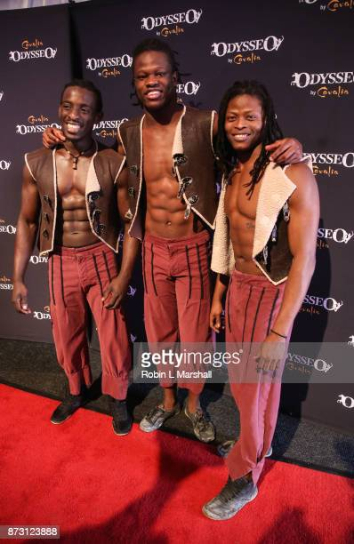 Performers Ibrahima Sory Sylla Mohamed Conte and Amara Conde attend Cavalia Odysseo Celebrity Premiere on November 11 2017 in Camarillo California
