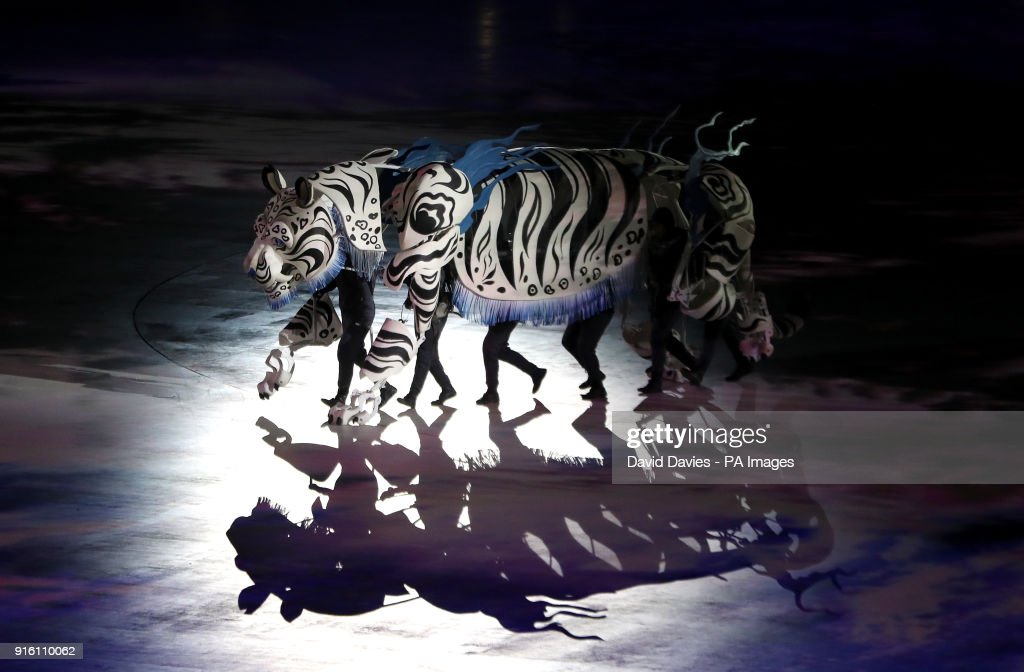 Performers in a tiger costume during the Opening Ceremony of the PyeongChang 2018 Winter Olympic Games & PyeongChang 2018 Winter Olympic Games - Opening Ceremony Pictures ...