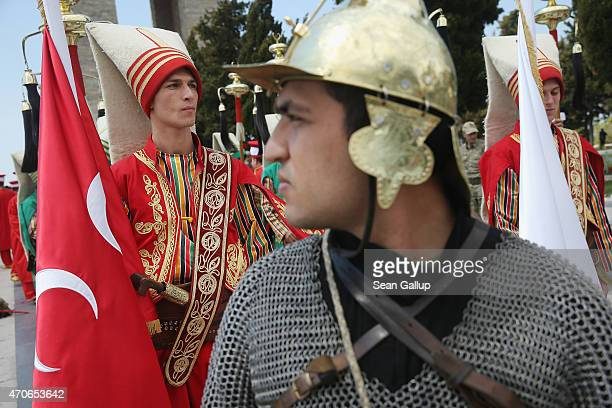 Performers in historical costumes rehearse a ceremony at the Canakkale Martyrs' Memorial which is the biggest memorial to Turkish soldiers killed...