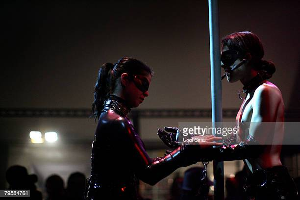 Performers in Israel's first sex festival wear blindfolds and leather/pvc attire on February 05 2008 in Tel Aviv Israel The festival includes strip...