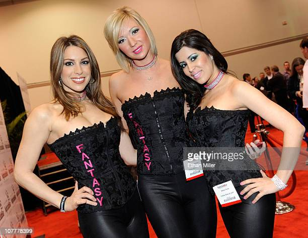 Performers in the production show Fantasy Jennifer Gagliano Lindsay Grieshaber and Debbie Flores appear at the Nightclub Bar Convention and Trade...