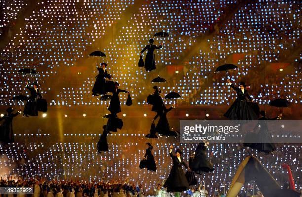 Performers in the role of Mary Poppins float inside the stadium during the Opening Ceremony of the London 2012 Olympic Games at the Olympic Stadium...