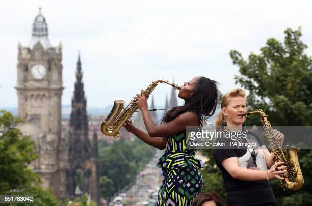 Performers Leah Cooper and Tia Fuller help to launch the 35th Edinburgh Jazz Festival on Calton Hill starting later this week