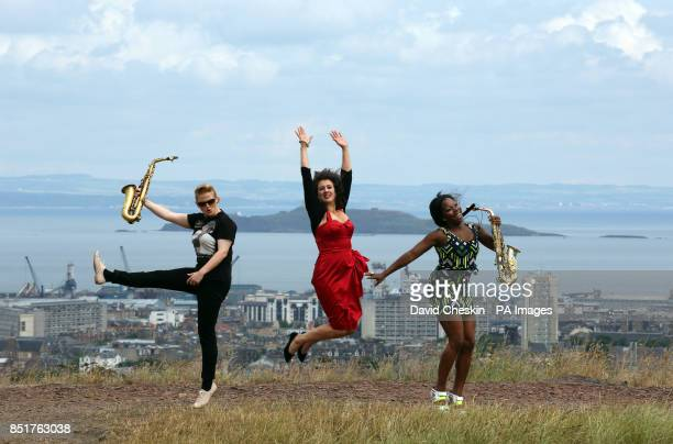 Performers Leah Cooper Lorna Reid and Tia Fuller help launch the 35th Edinburgh Jazz Festival on Calton Hill starting later this week