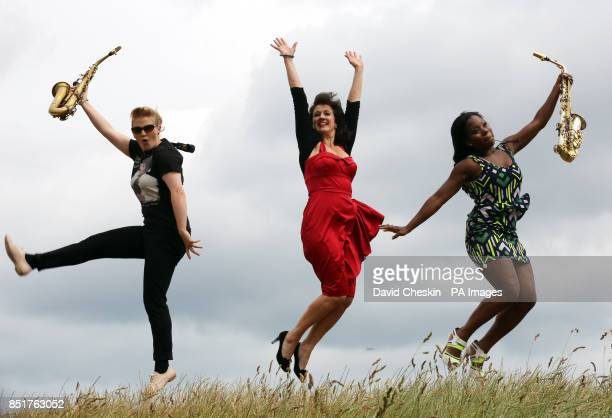 Performers Leah Cooper Lorna Reid and Tia Fuller help to launch the 35th Edinburgh Jazz Festival on Calton Hill starting later this week
