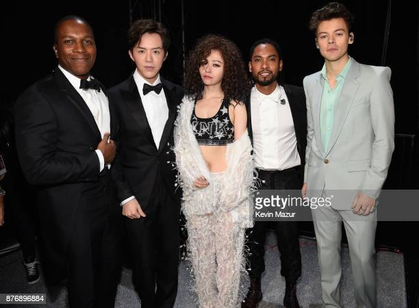 Performers Leslie Odom Jr Li Yundi Jane Zhang Miguel and Harry Styles backstage during 2017 Victoria's Secret Fashion Show In Shanghai at...