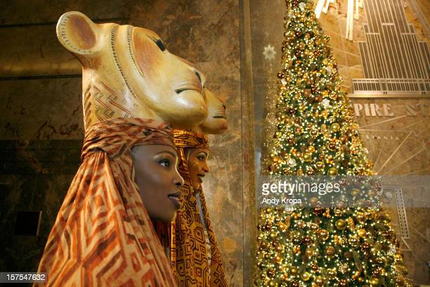 Performers Lindiwe Dlamini and Chondra LaTease Profit attend the Lighting Ceremony Honoring The 15th Anniversary Of Broadway's 'The Lion King' at The...