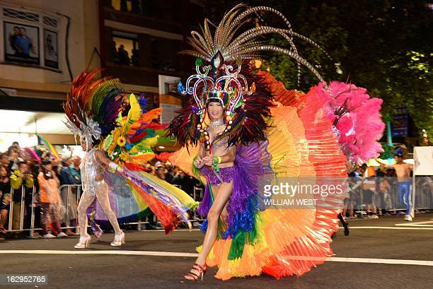 Performers march in Sydney's annual Mardi Gras gay pride parade an event which bills itself as the world's biggest night parade on March 2 2013 The...