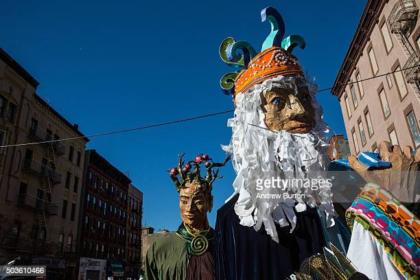 Performers march in the annual Three Kings Day Parade on January 6 2016 in the Spanish Harlem neighborhood of the Manhattan borough of New York City...