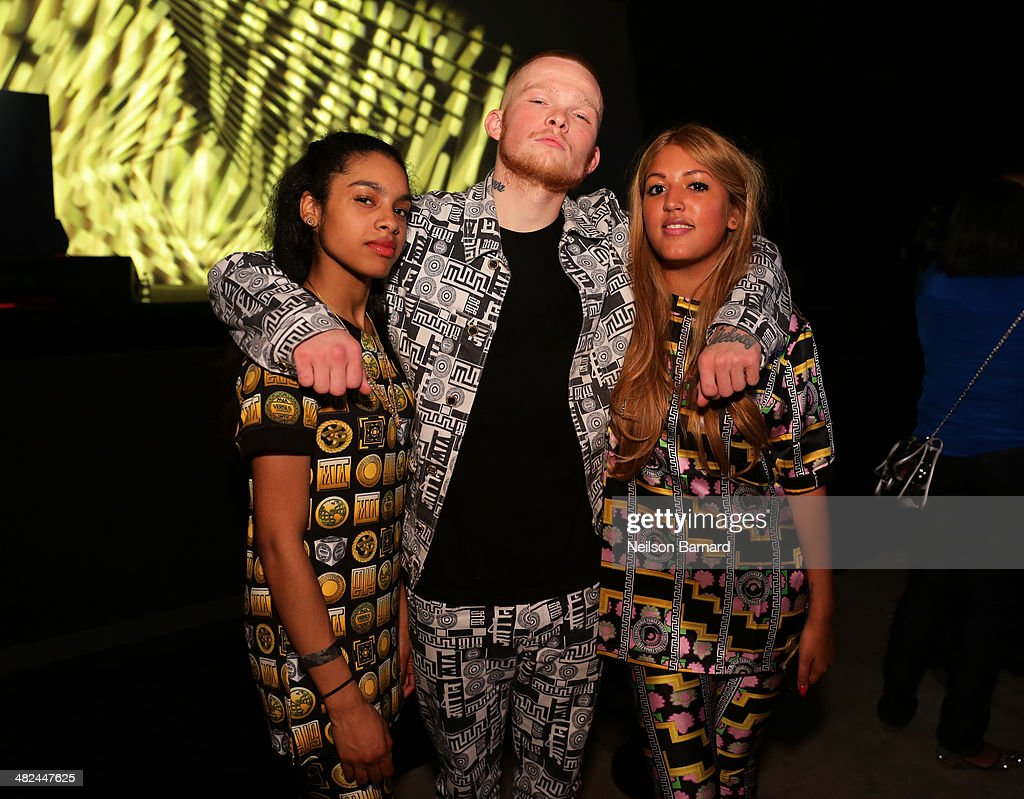 Performers Natalie Glover, Wyteboi and Riany Kathirithamby pose at the Audi A3 Launch Event with M.I.A. on April 3, 2014 at SIR Stage37 in New York City.