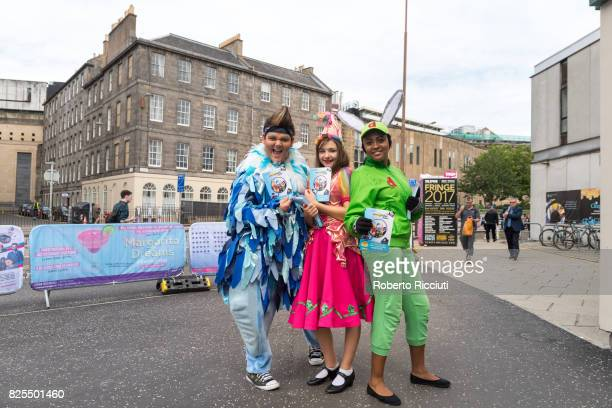 Performers of 'Animalphabet The Musical' promote their show at Teviot Place the during the Edinburgh Festival Fringe on August 2 2017 in Edinburgh...