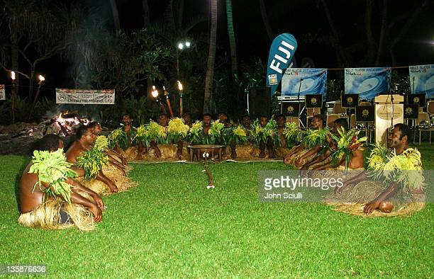 Performers of the Kava ceremony during Kelly Slater Invitational Fiji Day 2 Fijian Welcome Ceremony and Dinner at Sheraton Resorts Denarau Island in...