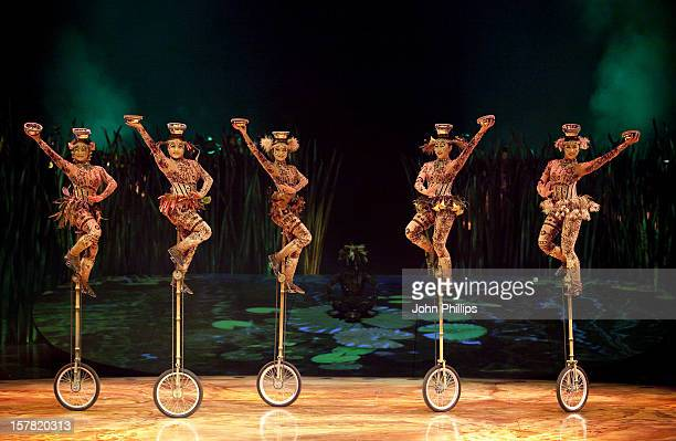 Performers On Stage At A Dress Rehearsal For Totem By Cirque Du Soleil At The Royal Albert Hall In London