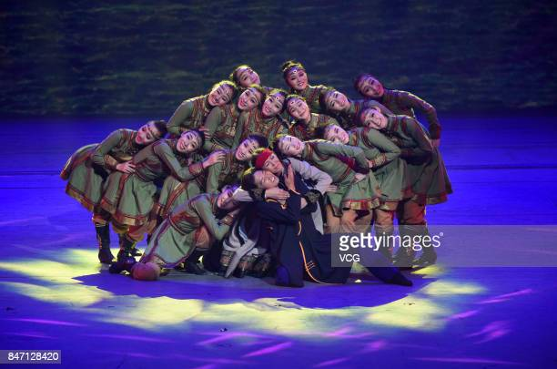 Performers onstage during the opening ceremony of the 26th Golden Rooster and Hundred Flowers Film Festival on September 13 2017 in Huhhot Inner...