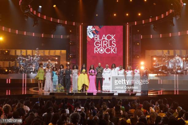 Performers onstage, including Angela Bassett, Beverly Bond, Niecy Nash and Common, at Black Girls Rock 2019 Hosted By Niecy Nash at NJPAC on August...