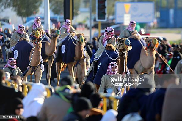 Performers parade during the launching ceremony of the Hala shopping festival in Kuwait City on January 29 2016 The festival kicked off with a parade...