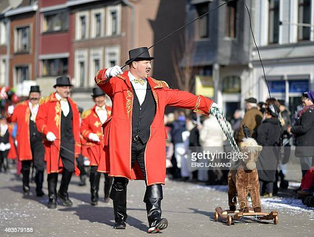 Performers parade during the Rosenmontag Carnival on Shrove Monday ahead of Ash Wednesday which marks the beginning of Lent in Eupen in the East...
