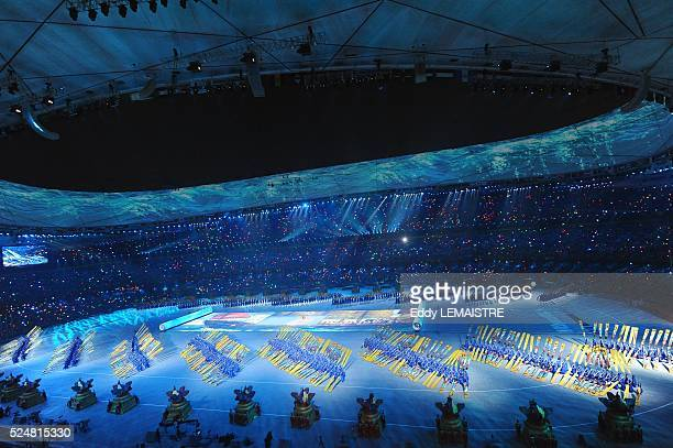 Performers participating during the Opening Ceremony of the Beijing 2008 Olympic Games at the National Stadium known as Bird's Nest Beijing China