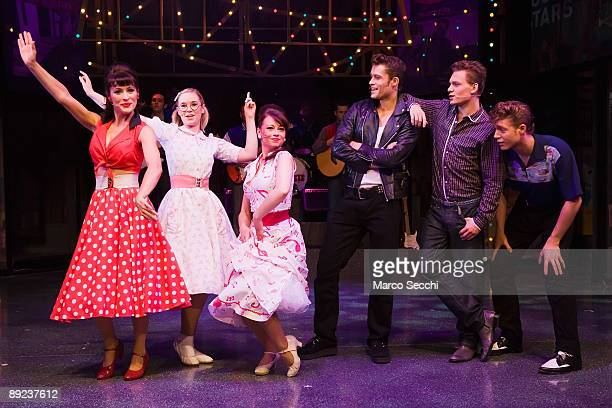Performers perform during Dreamboats and Petticoats The Musical written by Marks and Gran featuring Scott Bruton Ben Freeman Jennifer Biddall and...