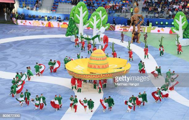 Performers perform during the closing ceremony prior to the FIFA Confederations Cup Russia 2017 Final between Chile and Germany at Saint Petersburg...