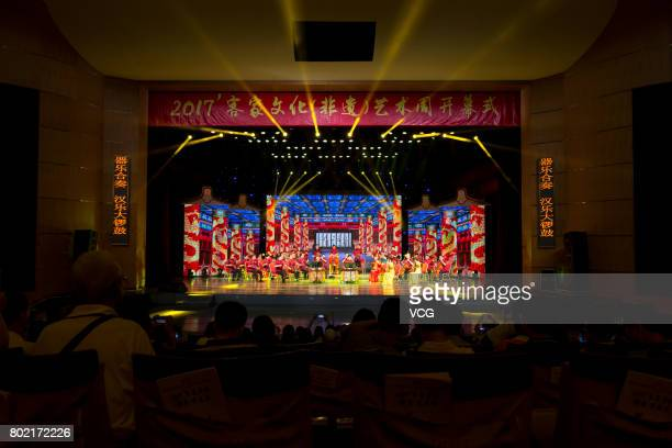 Performers perform Guangdong Hanyue Music on June 23 2017 in Meizhou Guangdong Province of China 2017 Hakka Culture Art Week opened at an art center...