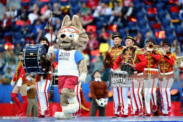 Performers perform with Zabivaka Russia World Cup mascot during the closing ceremony prior to the FIFA Confederations Cup Russia 2017 Final between...