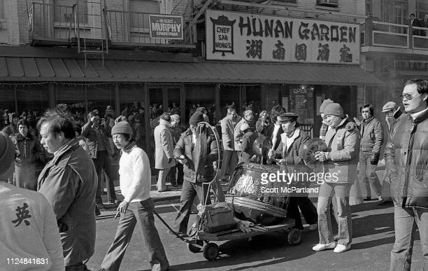 Performers play drums and cymbals during the annual Chinese New Year celebrations on Mott Street in the Chinatown neighborhood New York New York...