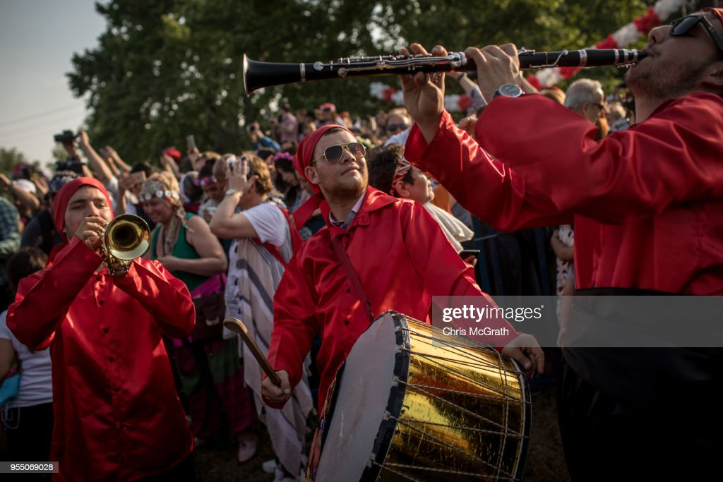 Performers play music during the Kakava Festival on May 5, 2018 in Edirne, Turkey. The annual Kakava (Hõdõrellez) spring festival celebrates the coming of spring amongst the Roma community.