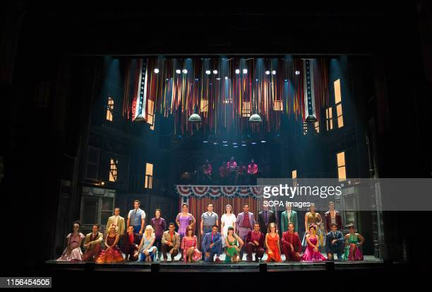 Performers pose for the media after a rehearsal of the musical 'West Side Story' at the Cervantes theatre. The famous musical 'West Side Story',...