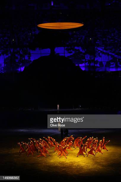 Performers represent victims of the July 7 bombings during the Opening Ceremony of the London 2012 Olympic Games at the Olympic Stadium on July 27...
