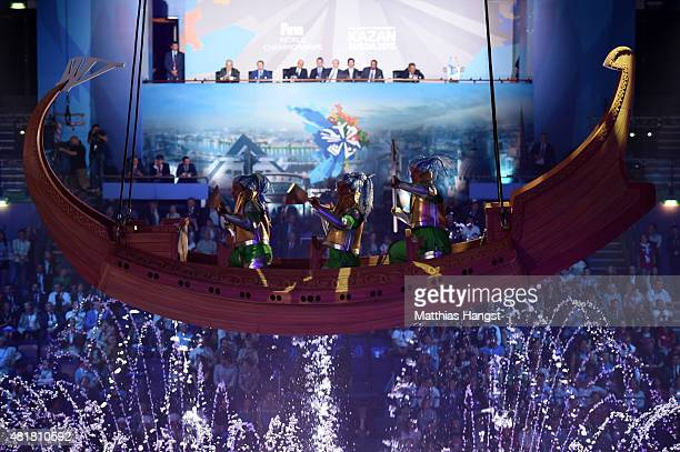 Performers row in a boat high above the arena during the Opening Ceremony of the 16th FINA World Championships at TatNeft Arena on July 24 2015 in...