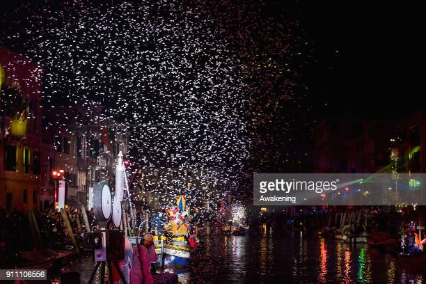 Performers sail along the Canaregio Canal during the opening of the 2018 Venice Carnival on January 27 2018 in Venice Italy The theme for the 2018...