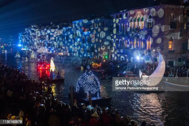 Performers sail along the Cannaregio Canal during the opening of the 2019 Venice Carnival on February 16 2019 in Venice Italy The theme for the 2019...