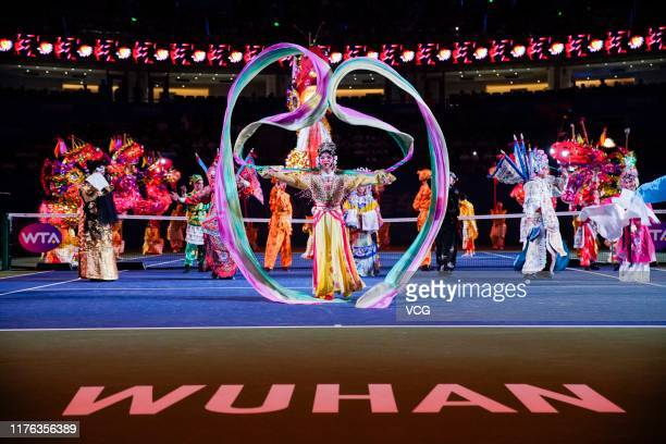 Performers show Peking opera during the opening ceremony of 2019 Wuhan Open at Optics Valley International Tennis Center on September 22 2019 in...