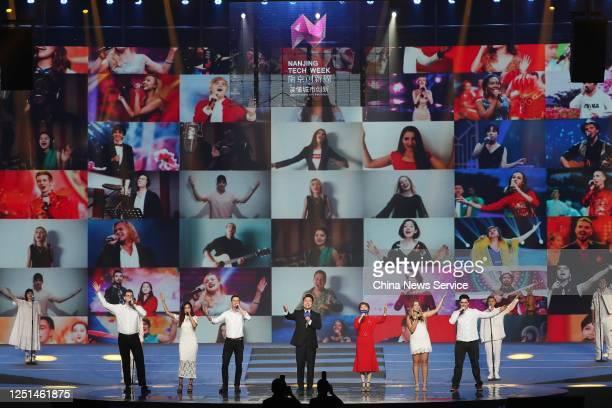 Performers sing on site or via video during Purple Mountain Innovation Conference of Nanjing Tech Week 2020 on June 22 2020 in Nanjing Jiangsu...