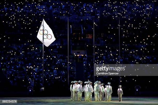 Performers sing on stage during the Closing Ceremony on Day 16 of the Rio 2016 Olympic Games at Maracana Stadium on August 21 2016 in Rio de Janeiro...
