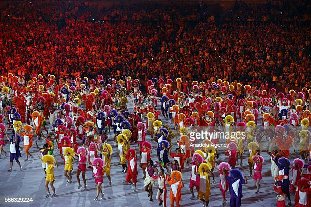 Performers stage a show during the Opening Ceremony of the Rio 2016 Olympic Games at Maracana Stadium in Rio de Janeiro Brazil on August 05 2016
