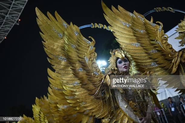 TOPSHOT Performers stand in line as they wait to take part at the opening ceremony of the 2018 Asian Games in Jakarta on August 18 2018