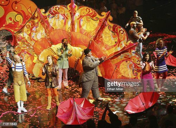 "Performers take a curtain call at the end of a preview of ""The Beatles LOVE by Cirque du Soleil"" at The Mirage Hotel & Casino June 27, 2006 in Las..."