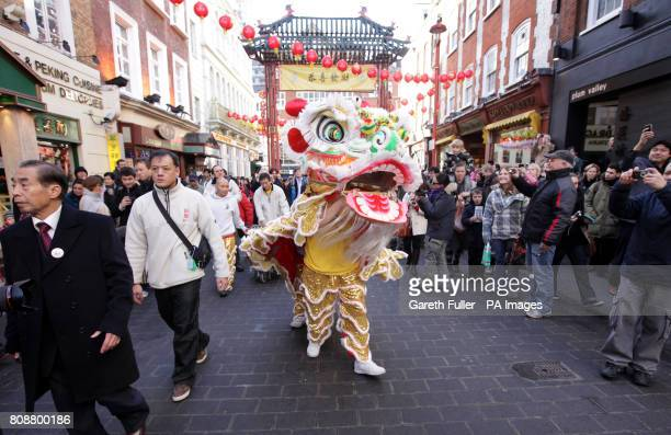 Performers take part in a traditional Chinese Lion Dance to celebrate the start of the Chinese Year of the Rabbit in Soho London Picture date...