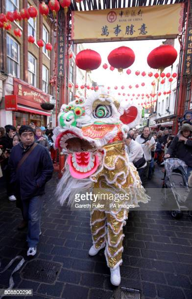 Performers take part in a traditional Chinese Lion Dance to celebrate the start of the Chinese Year of the Rabbit in Soho London