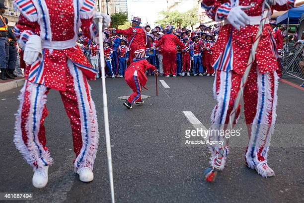 Performers take part in the annual Cape Town Minstrel Carnival on January 17 2015 in Cape Town South Africa The Cape Minstrel Carnival known as...