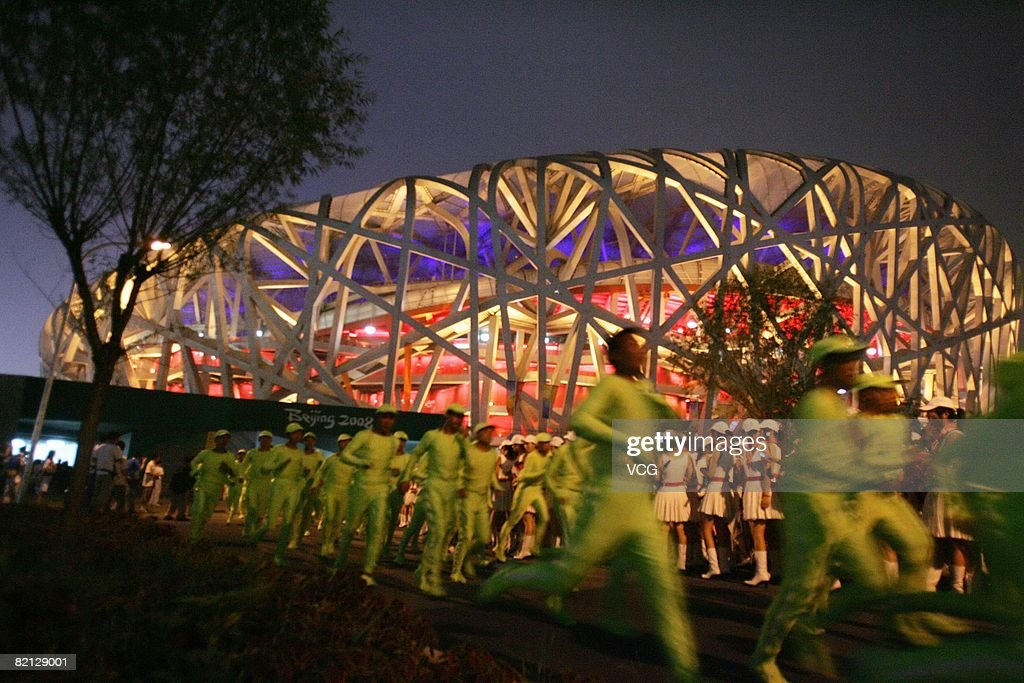 Performers take part in the first dress rehearsal for the opening ceremony of the Beijing Olympic Games at the National Stadium on July 30, 2008 in Beijing, China. Beijing is making its final preparations for the upcoming Olympics which begin on August 8, 2008.