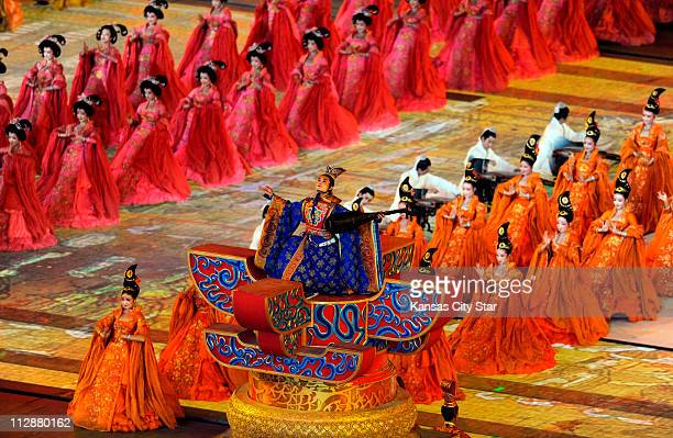 Performers take part in the National Stadium during the opening ceremony on Friday August 8 to kick of the Games of the XXIX Olympiad in Beijing China