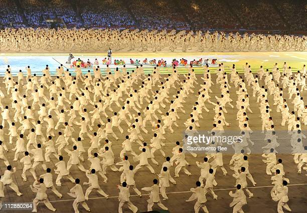 Performers take part in the National Stadium during the opening ceremony on Friday August 8 to kick off the Games of the XXIX Olympiad in Beijing...