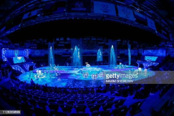 Performers take part in the opening ceremony for the 29th Winter Universiade at the Platinum Arena in Krasnoyarsk on March 2, 2019.